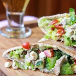 Greek Chicken Salad Pita Pockets|littlebroken.com