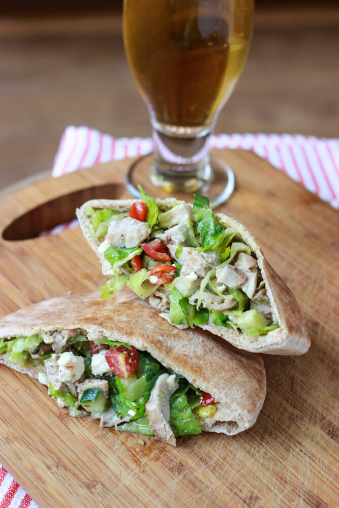 Greek Chicken Salad Pita Pockets Little Broken