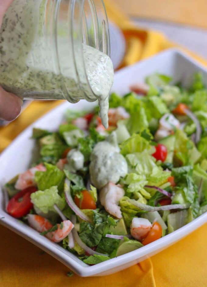 Avocado and Shrimp Chopped Salad with Creamy Cilantro Dressing