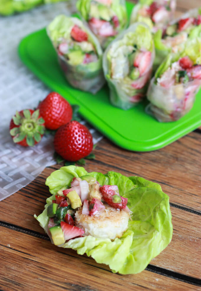 Coconut Shrimp Spring Rolls with Strawberry Avocado Salsa and Almond Butter Dipping Sauce littlebroken.com