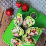 Coconut Shrimp Spring Rolls with Strawberry-Avocado Salsa and Creamy Almond Butter Dipping Sauce