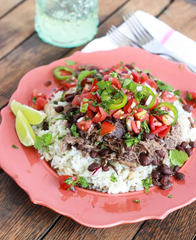 Crockpot Cuban Pork and Beans with Fresh Tomato Salsa  www.littlebroken.com @littlebroken