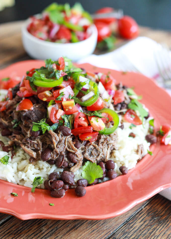 Crockpot Cuban Pork and Beans with Fresh Tomato Salsa  www.littlebroken.com @littlebroken