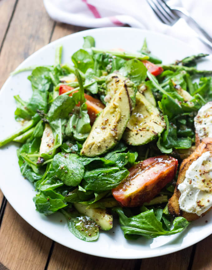 Grilled Vegetable and Arugula Salad with Goat Cheese Crostini | Little ...