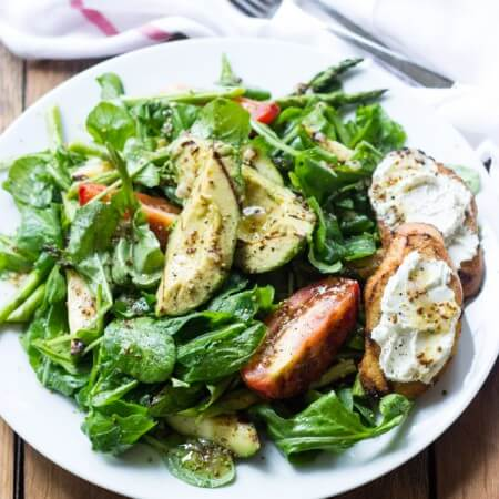 Grilled Vegetable and Arugula Salad with Goat Cheese Crostini