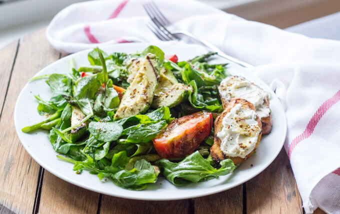 Grilled Vegetable and Arugula Salad with Goat Cheese Crostini www.littlebroken.com