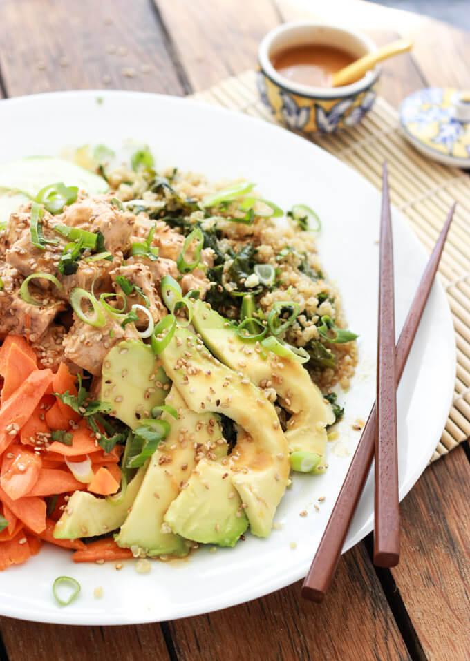 Quinoa spicy tuna sushi bowl little broken for Whole foods sushi grade fish