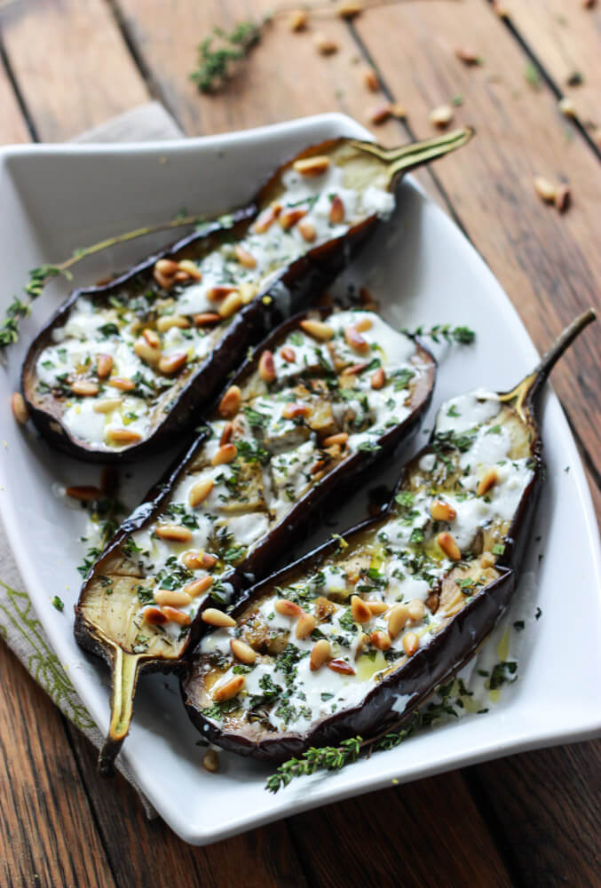 Roasted Eggplant with Buttermilk Sauce, Mint, Basil and Pine Nuts | littlebroken.com