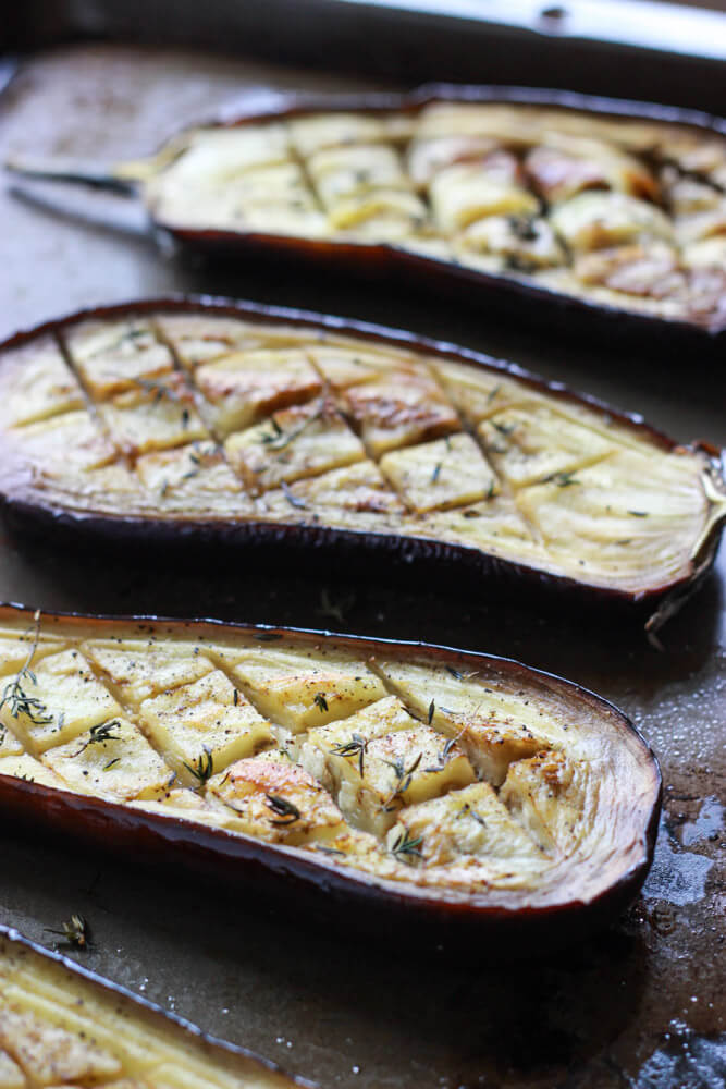 Roasted Eggplant with Buttermilk Sauce, Mint, Basil and Pine Nuts ...