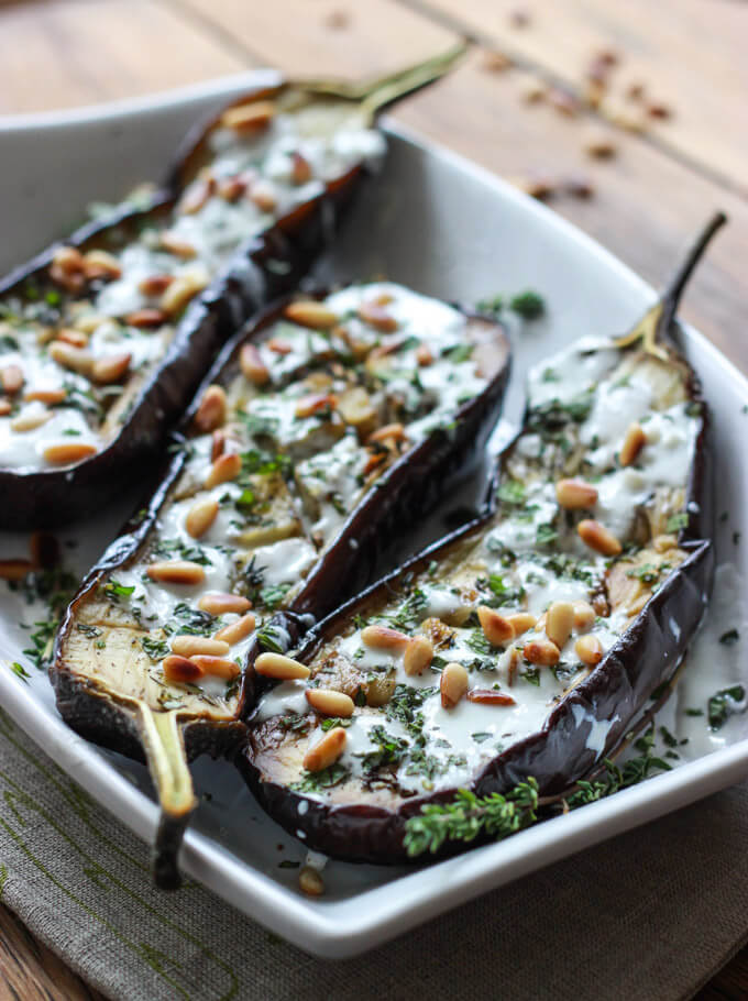 ... roasted eggplants served with buttermilk sauce and fresh herbs is my