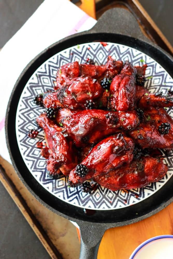 Sriracha Blackberry BBQ Wings| littlebroken.com @littlebroken