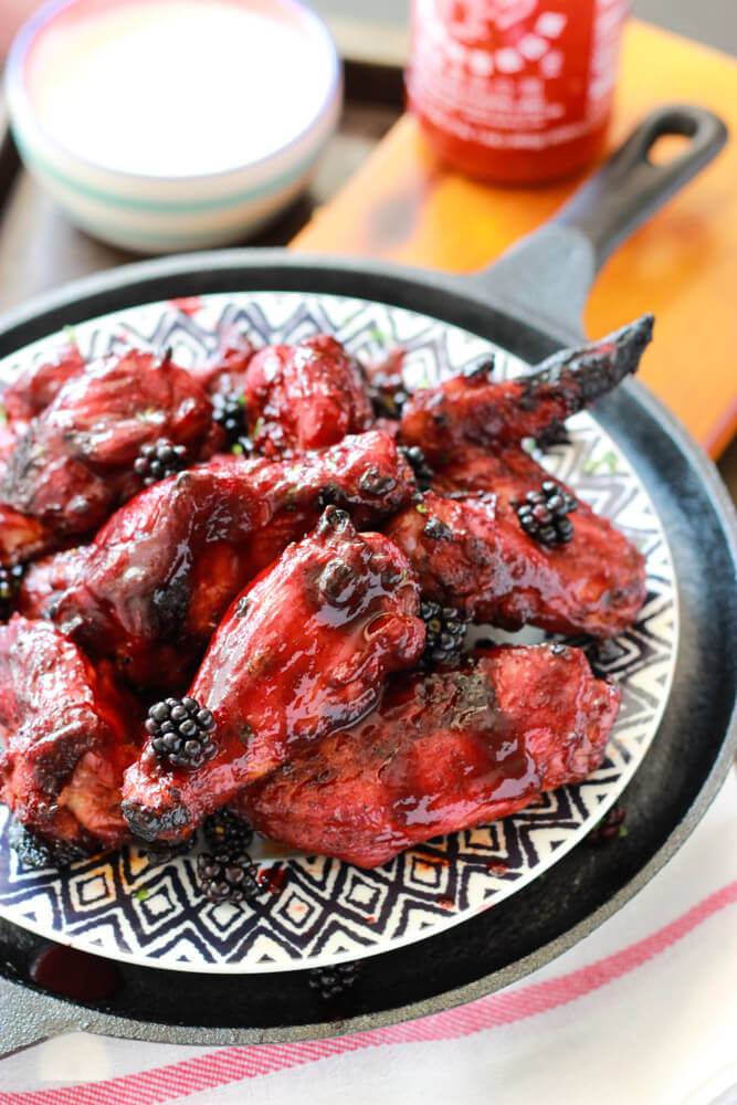 Sriracha Blackberry BBQ Wings | littlebroken.com @littlebroken