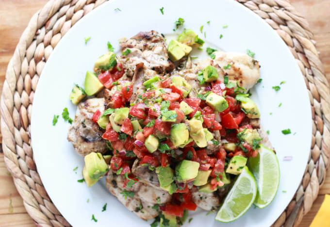 30 Minute Cilantro-Lime Chicken with Avocado Salsa - whole meal for the family in 30 minutes and all from scratch! Make chicken sliders. Kids love it. | littlebroken.com @littlebroken