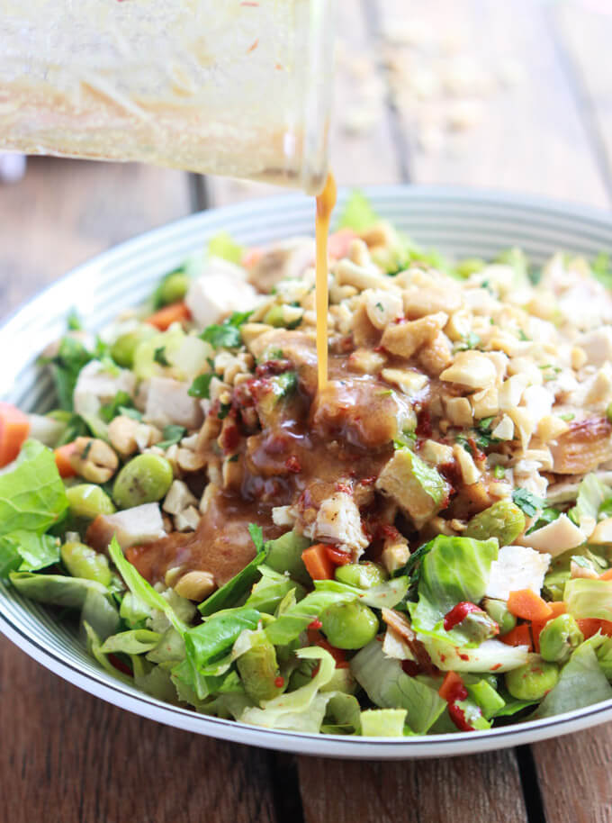 Chopped Thai Chicken Salad with Peanut-Chili Vinaigrette - just like Panera's Thai Chicken Salad but homemade and healthier | littlebroken.com @littlebroken