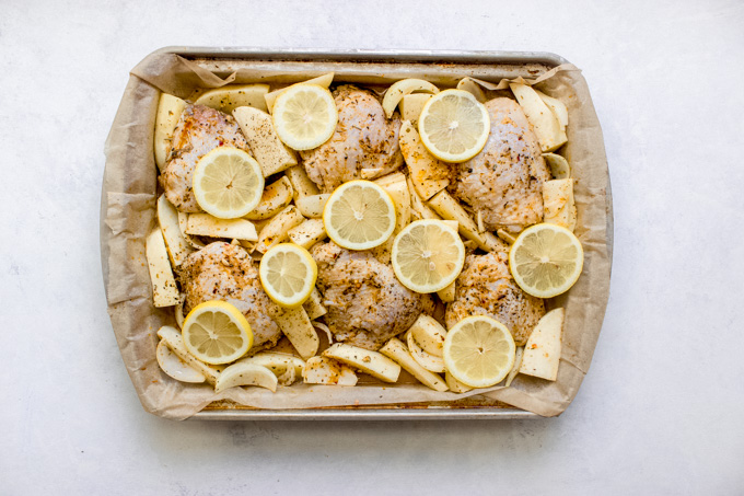 chicken topped with lemon slices