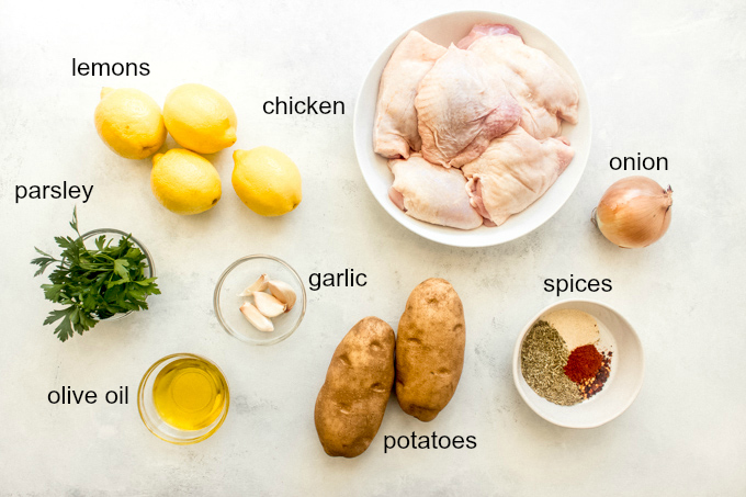 ingredients for oven roasted chicken and potatoes recipe
