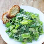 Lemony Caesar Salad with Garlic-Parmesan Toasts - lighter than most Caesar salads without anchovies or raw eggs! | littlebroken.com @littlebroken