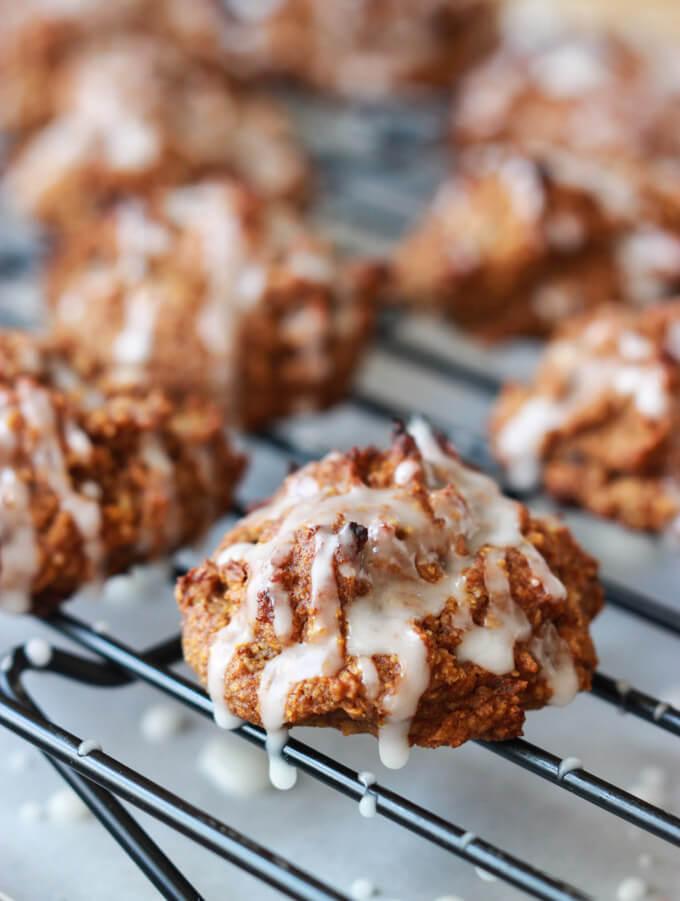 Pumpkin Pecan Cookies with Orange Glaze - vegan, no dairy and best soft cookie you will ever have! | littlebroken.com @littlebroken