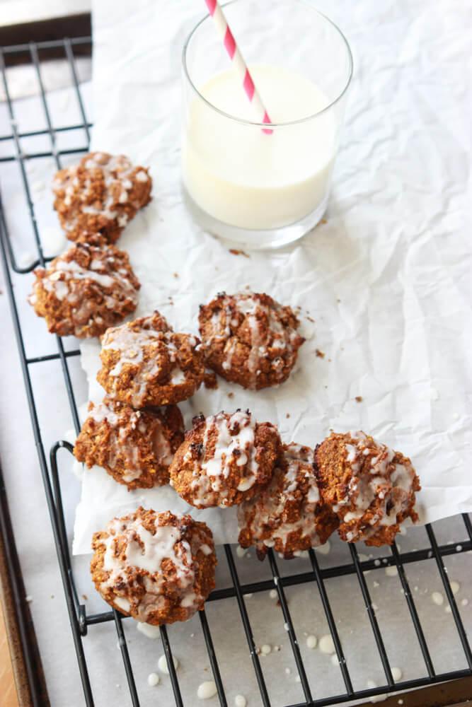 Pumpkin Pecan Cookies with Orange Glaze - vegan, no dairy and best ...