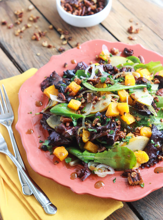 Roasted Butternut Squash and Pear Salad with Spiced Pecans is all about fall flavors! Perfect on its own or as a side.  Beautiful and tasty! | littlebroken.com @littlebroken