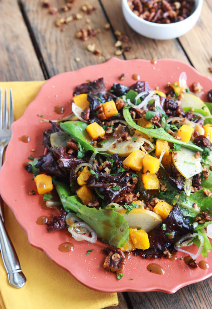 Roasted Butternut Squash and Pear Salad with Spiced-Pecans | Little ...