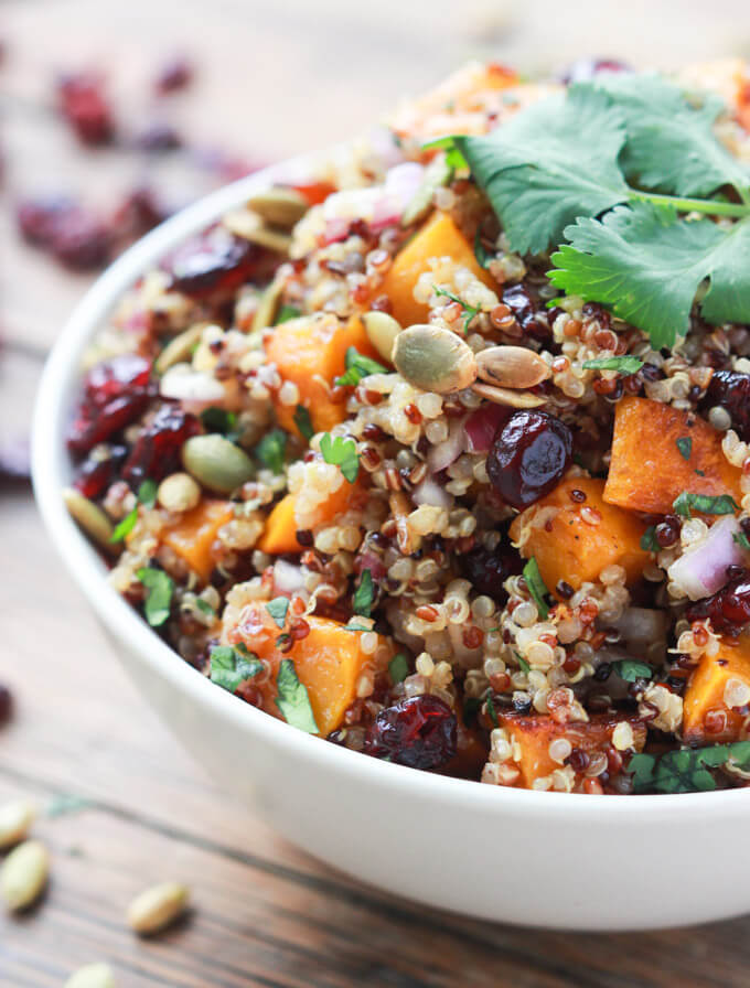 Close up side view of butternut squash cranberry quinoa salad
