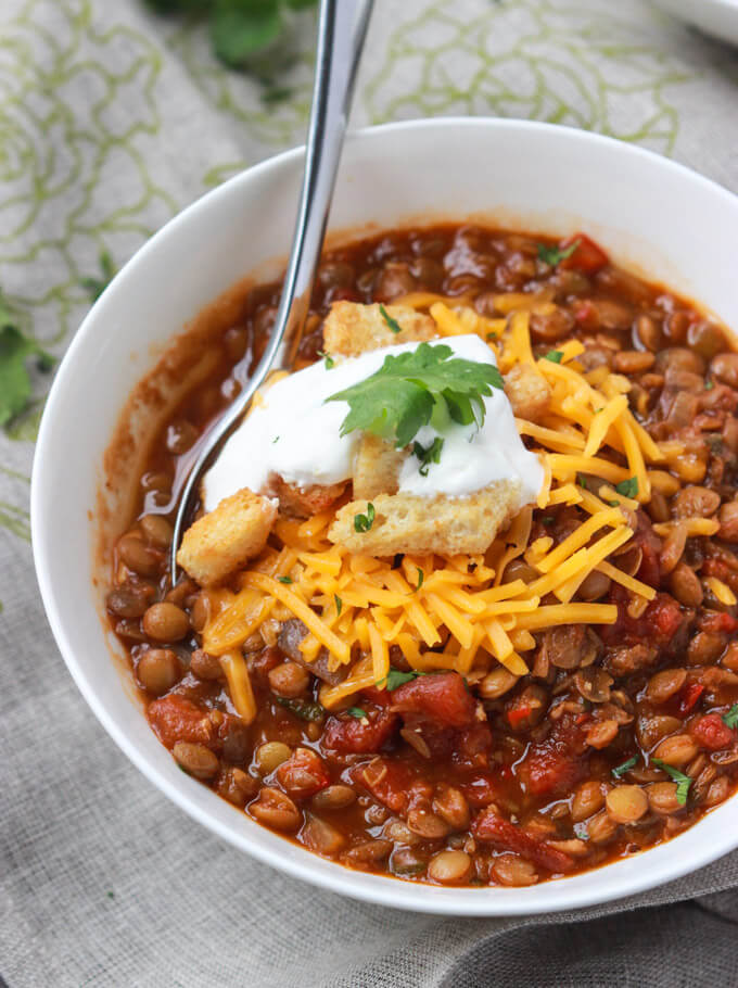 close up lentil chili recipe in a bowl