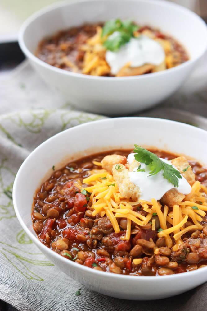 side view meatless chili recipe with lentils