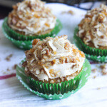 Pumpkin Cupcakes with Whipped Brown Sugar Cream and Pecan Praline
