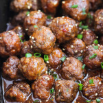 Crockpot cocktail meatballs are a perfect blend of sweet and savory. Perfect for holiday entertainment with easy prep and hardly any clean up. | littlebroken.com @littlebroken