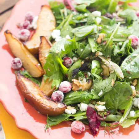 Roasted Pear Salad with Lemon Vinaigrette - thanksgiving salad that will surely impress your guests! Super easy to put together days in advance. | littlebroken.com @littlebroken
