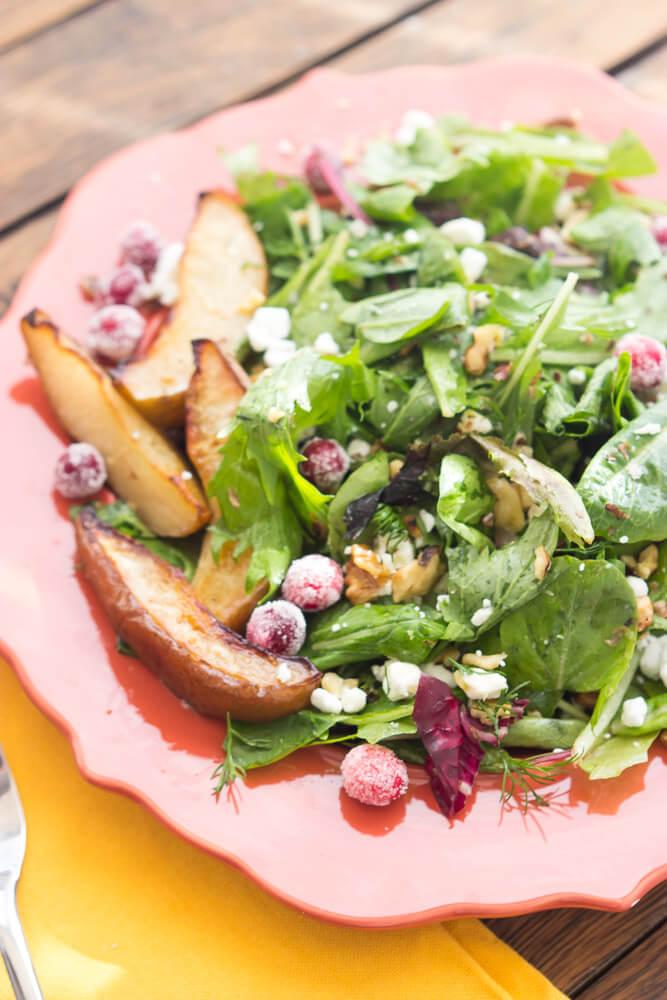 Roasted Pear Salad with Lemon Vinaigrette - thanksgiving salad that will surely impress your guests! Super easy to put together days in advance. | littlebroken.com @littlebroken