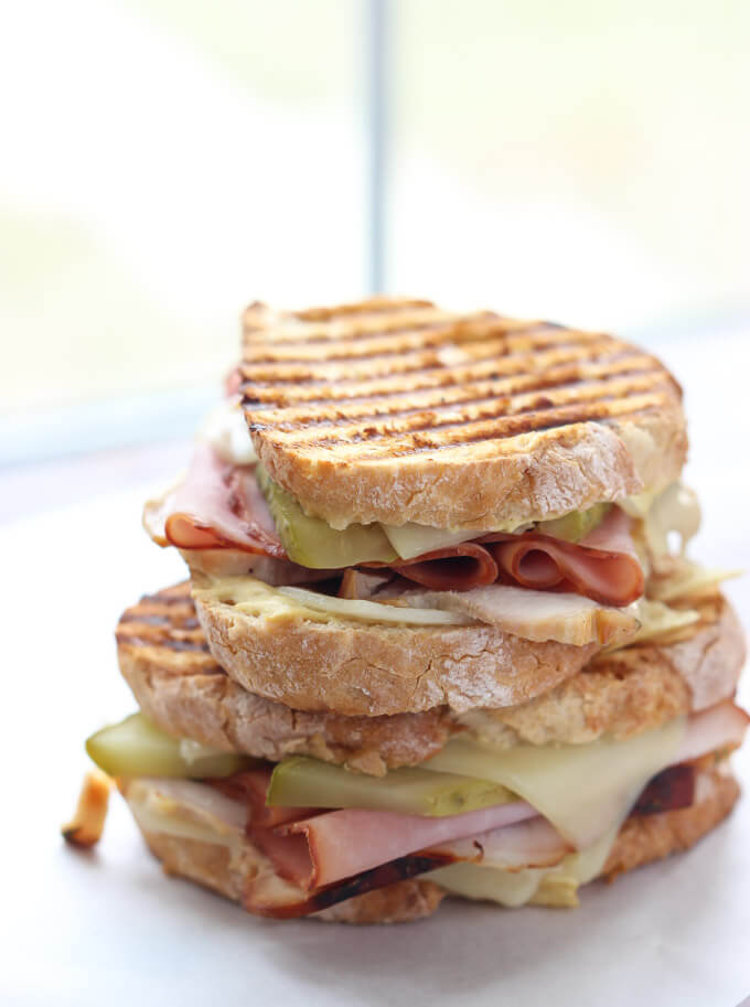 Leftover Thanksgiving turkey? Make this toasty Turkey Cuban Sandwich in minutes! Super yummy. | littlebroken.com @littlebroken #thanksgivingleftovers