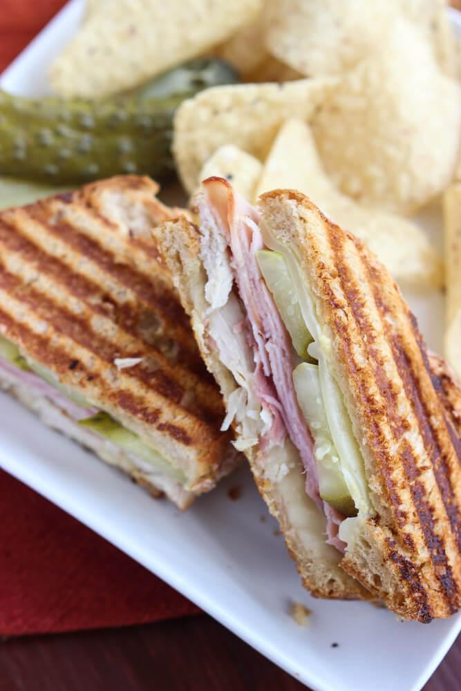 Leftover Thanksgiving turkey? Make this toasty Turkey Cuban Sandwich in minutes! Super yummy.   littlebroken.com @littlebroken #thanksgivingleftovers