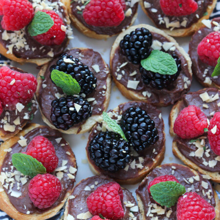 Chocolate Ricotta, Berry, and Coconut Crostini