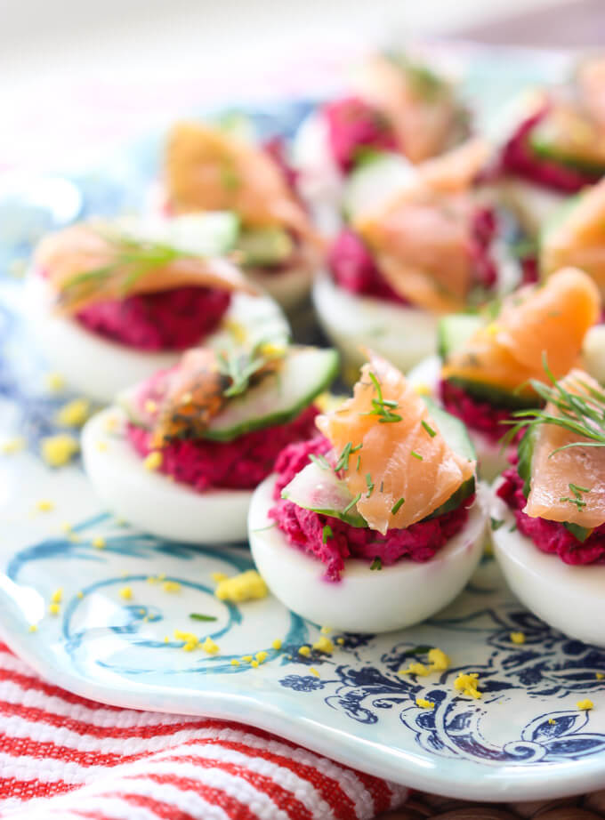 close up side view salmon deviled eggs