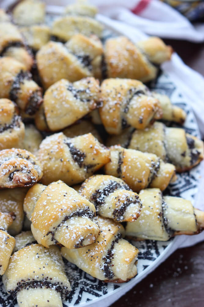 Day 11 of 12 Days of Cookies: delicate rugelach cookies with homemade poppy seed filling . You get  4+ dozen from one batch! | littlebroken.com @littlebroken