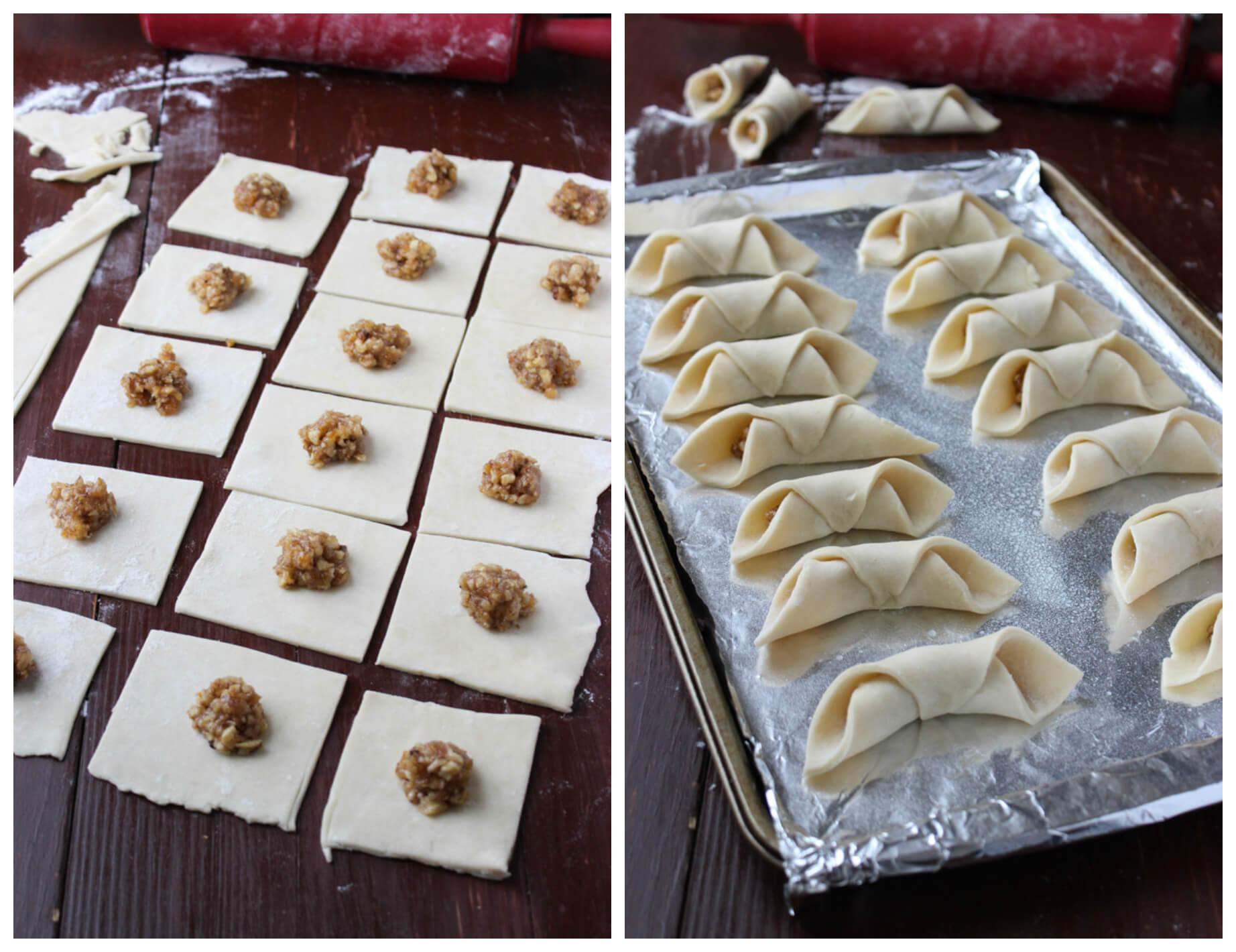 Day 6 of 12 Days of Cookies:  flaky pastry dough filled with walnut filling. These are deliciously good for Christmas!   littlebroken.com @littlebroken #christmascookies