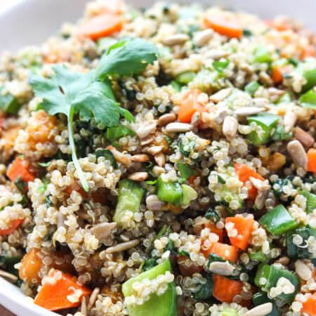 Healthy quinoa salad with crispy veggies and orange vinaigrette. Fresh, light, and delicious | littlebroken.com @littlebroken