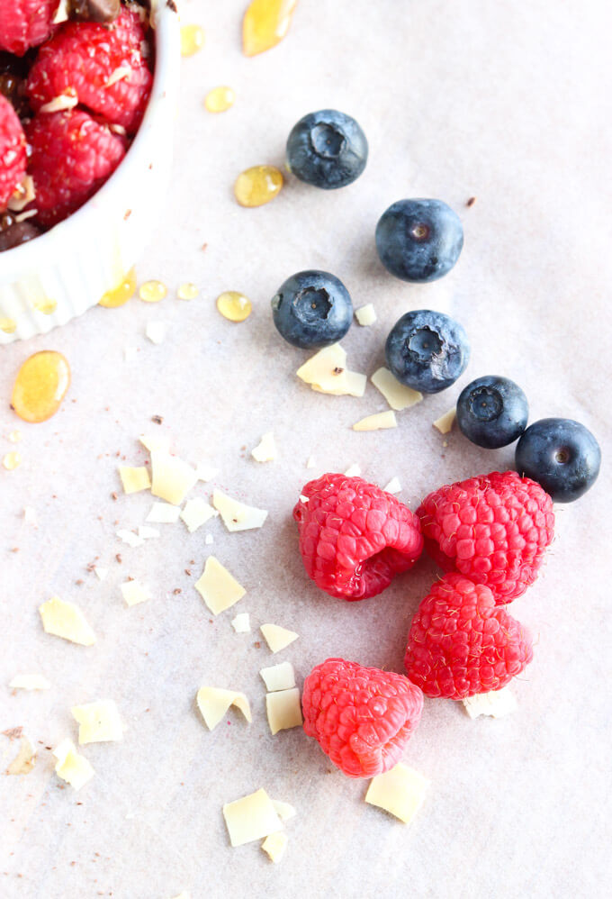 5 minute dessert with berries, Greek yogurt, chocolate and coconut chips! Make this next time you're craving something sweet. It's healthy and delicious!  littlebroken.com @littlebroken