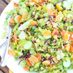 Healthy salad greens combined with crispy veggies and mandarins in a slightly sweet dressing | littlebroken.com @littlebroken