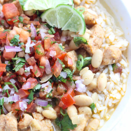 White Chicken Chili Rice Bowl