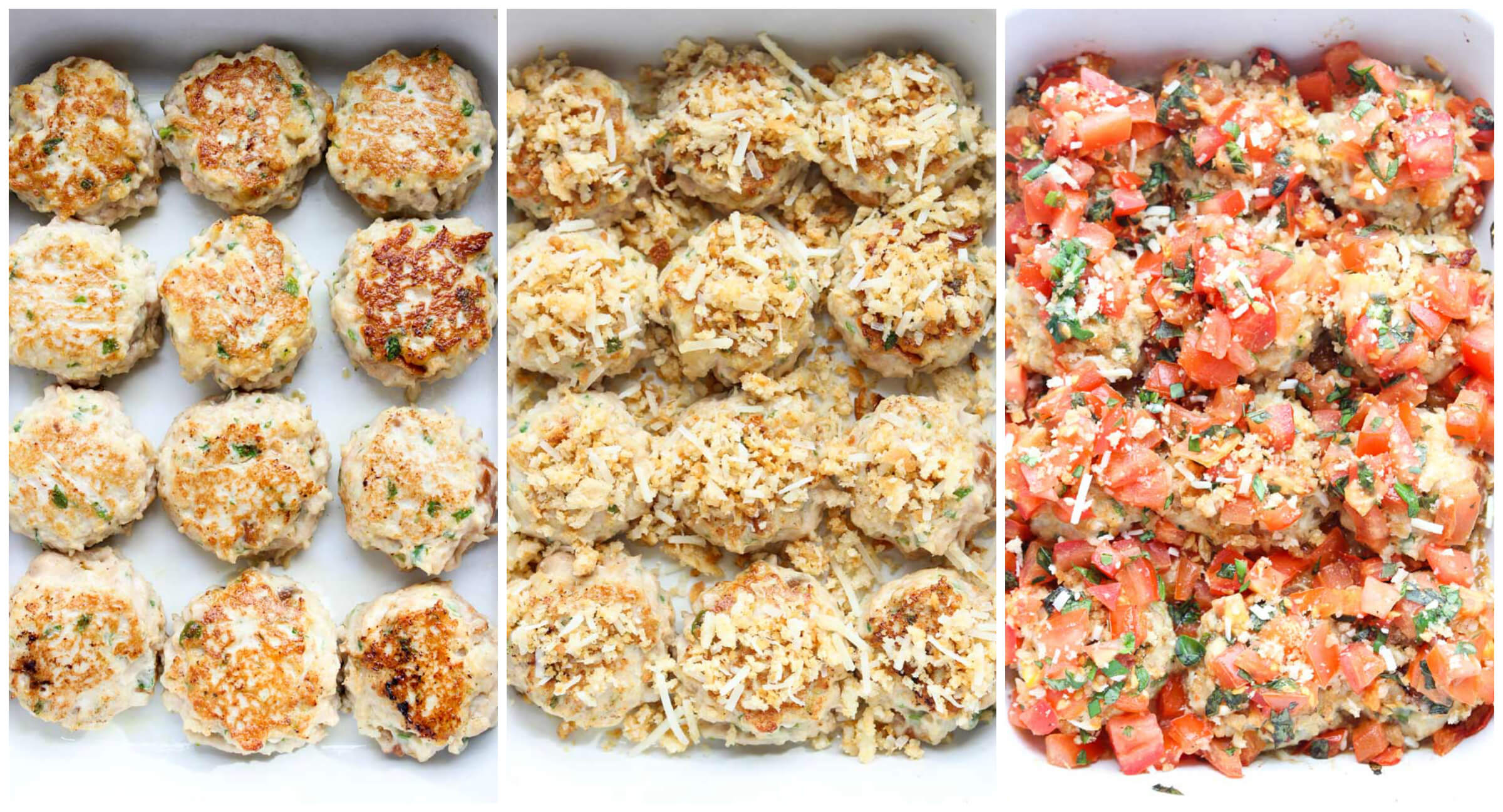 The juiciest chicken meatballs you will ever have! Stuffed with mozzarella and baked with bruschetta topping for an easy dinner! | littlebroken.com @littlebroken