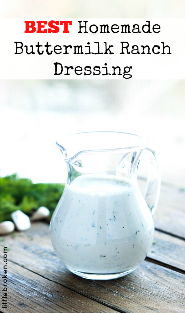 Zesty homemade buttermilk ranch dressing is quick, easy, and super tasty over a salad or as a dip | littlebroken.com @littlebroken