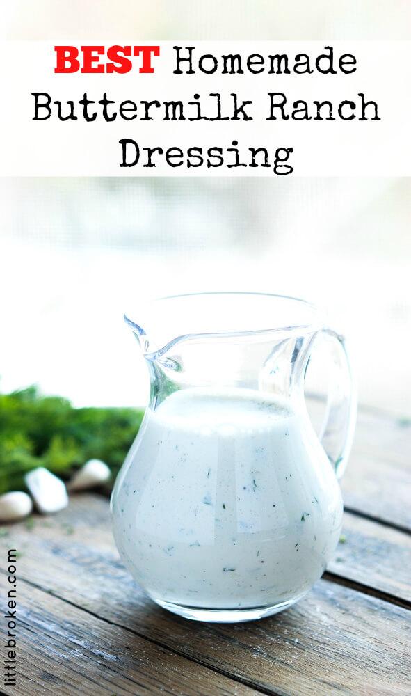Zesty homemade buttermilk ranch dressing is quick, easy, and super tasty over a salad or as a dip   littlebroken.com @littlebroken