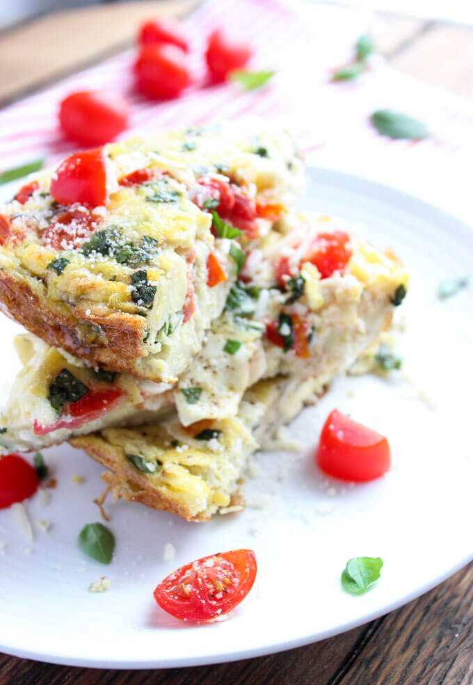 Caprese Egg and Pasta Frittata made with leftover pasta of your choice for a delicious breakfast, brunch or even dinner | littlebroken.com @littlebroken.com
