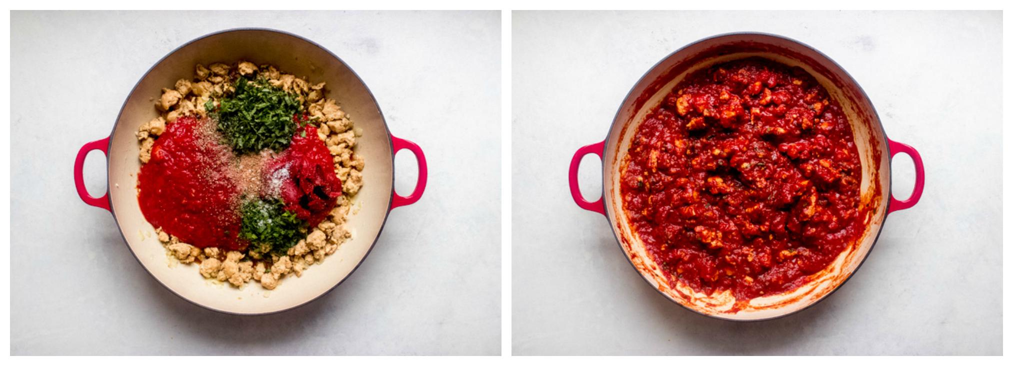 tomato sauce in skillet