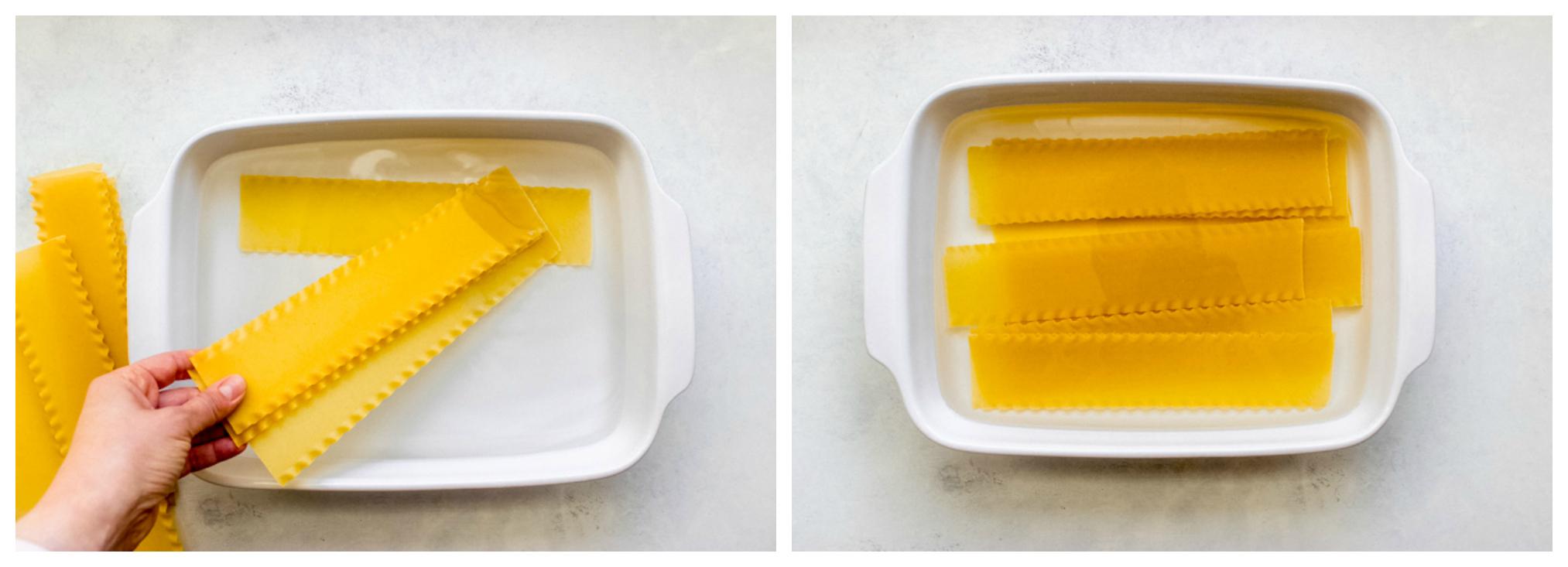 lasagna noodles in a dish