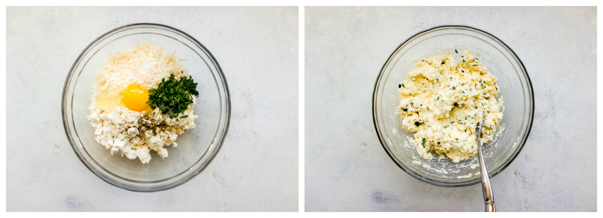 ricotta mixture in a glass bowl