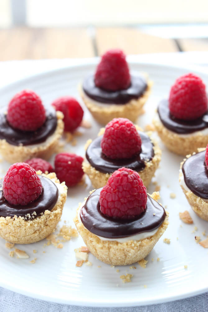 No Bake Meyer Lemon Mini Cheesecakes with Chocolate Ganache | Little ...